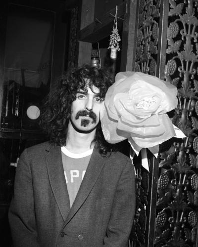 "Frank Zappa of the rock group ""Frank Zappa And The Mothers Of Invention""poses for a portrait at the Garrick Theatre upstairs from the Cafe Au Go Go."