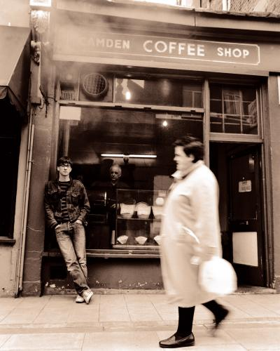 Graham Coxon outside the Camden Coffee Shop on Delancey Street
