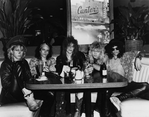 Guns N' Roses at Canter's Deli in Los Angeles. L-R Duff McKagan