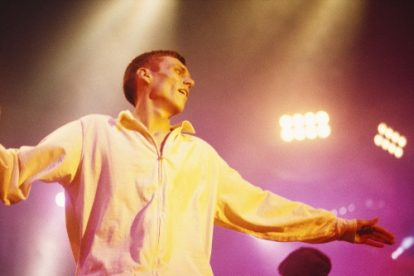 Bez performing on stage with the Happy Mondays in Manchester.