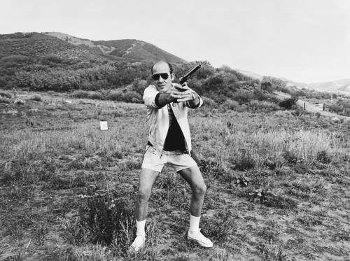 Hunter S. Thompson with a .44 Magnum at his ranch