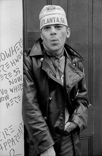Ian Dury outside Stiff Records 1978 London.