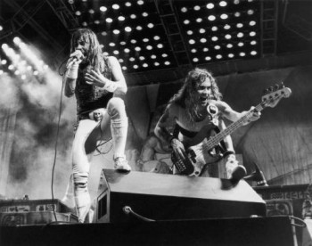Bruce Dickinson and Steve Harris of Iron Maiden in concert at the Rio rock festival