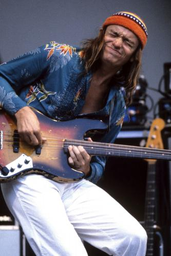 Jaco Pastorious photographed performing on stage in Los Angeles.