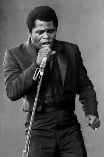 James Brown photographed on stage in Newport