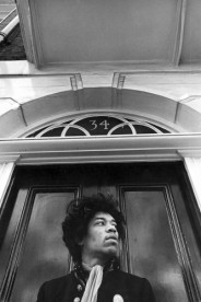 Jimi Hendrix photographed outside his home at 34 Montagu Square, London.