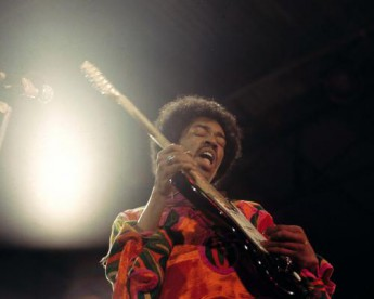 Jimi Hendrix performing at the Isle of Wight Festival in 1970.