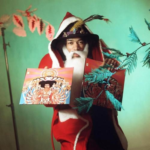 Jimi Hendrix dressed up as Santa Claus in 1967 Sonic Editions print