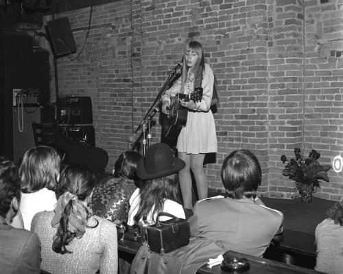 Folk Singer and songwriter Joni Mitchell performs at The Bitter End.