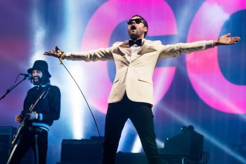 Tom Meighan and Sergio Pizzorno of Kasabian perform as the band headline the Pyramid stage on Day 3 of the Glastonbury Festival at Worthy Farm on June 29