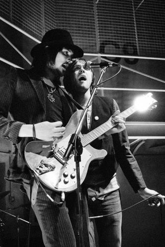 Serge and Tom from Kasabian shot during the filming of the video for LSF in East London 2004.