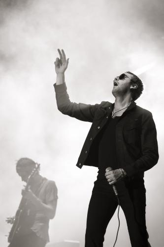 Tom Meighan and Serge Pizzorno of Kasabian on stage at Benicassim 2010.