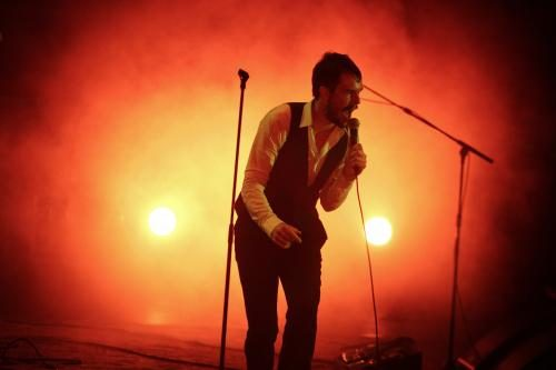 Brandon Flowers of The Killers on stage at the V Festival
