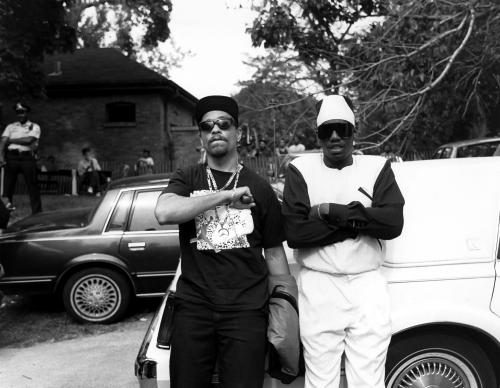 Rappers Ice-T and Kool Moe Dee pose for photos during 'No Crime Day' at the DuSable Museum in Chicago