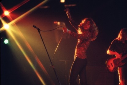 Robert Plant photographed mid performance with Led Zeppelin, New York 1969.