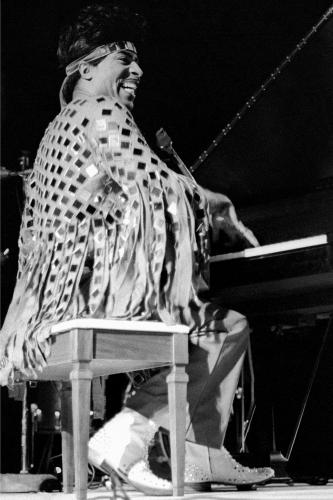 Little Richard photographed performing on stage in Wadena