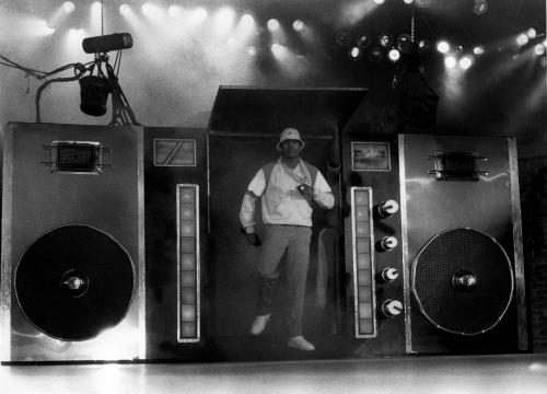 LL Cool J entering the stage through a giant beatbox.