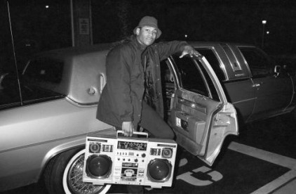 Rapper LL Cool J (Ladies Love Cool James) poses with his beatbox and limo - New York City