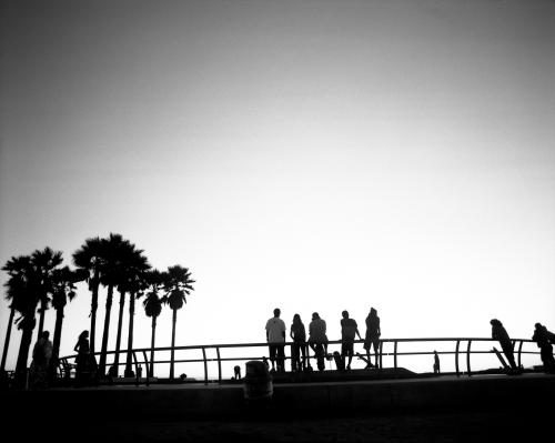 Skaters taking a break at Venice Beach Skate Park