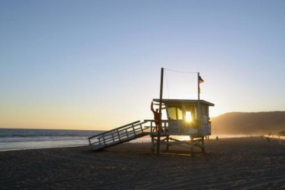 Malibu beach front photographed at sunrise