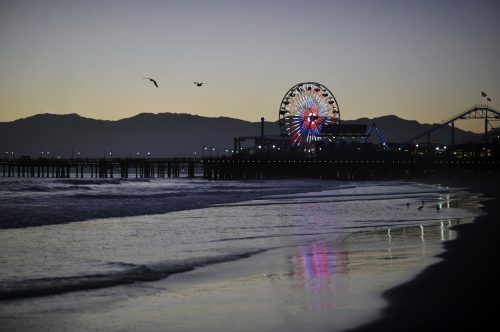 Santa Monica Pier photographed from the beachfront, 2013.