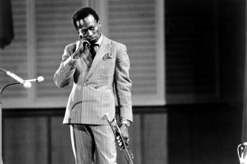 Miles Davis photographed on stage in West Germany