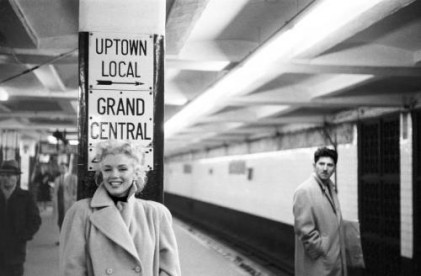 Marilyn Monroe takes the subway in Grand Central Station in New York City.