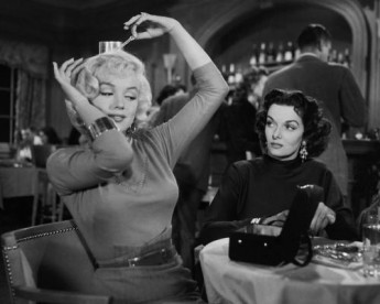 Actresses Marilyn Monroe and Jane Russell in a publicity still for the film 'Gentlemen Prefer Blondes' in Los Angeles