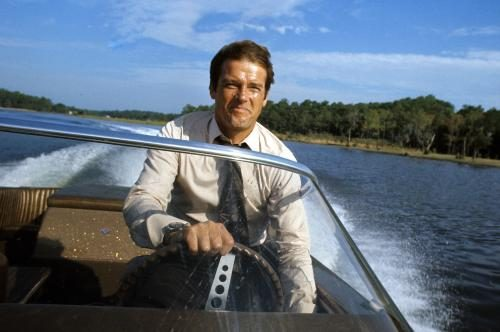 Roger Moore on location for the filming of James Bond film 'Live And Let Die' in Kingston