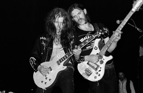 Lemmy Kilmister and Eddie Clarke on stage in Liverpool 5th April 1979 - Motorhead were supported by Girlschool on their 'Overkill' Tour at Liverpool Empire Theatre.