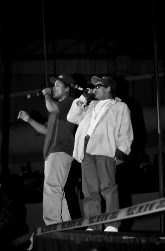 Rappers Ice Cube and Eazy-E. from N.W.A. performs during the 'Straight Outta Compton' tour at Kemper Arena in Kansas City