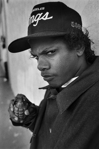 Eazy-E photographed opposite NWA's recording studio in Compton