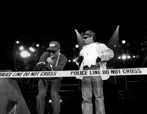 MC Ren and Eazy-E. from N.W.A. perform during the 'Straight Outta Compton' tour at Kemper Arena in Kansas City