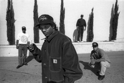 N.W.A. photographed opposite their recording studio in Compton