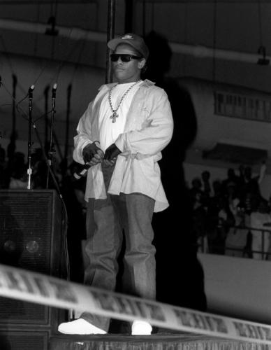 Rapper Eazy-E from N.W.A. performs during the 'Straight Outta Compton' tour at Kemper Arena in Kansas City