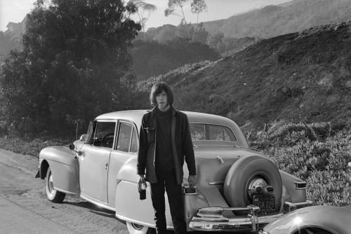 Neil Young of Buffalo Springfield outside his house on October 30