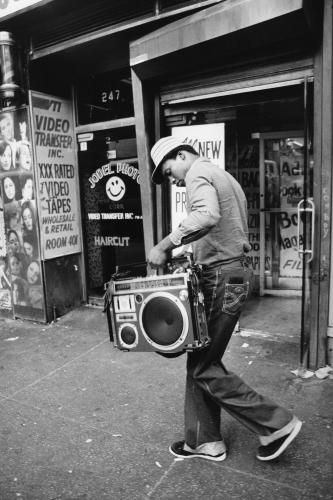 Teenager holding his ghettoblaster on 42nd Street