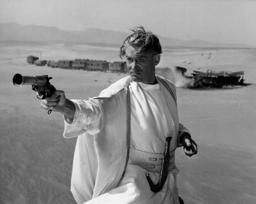Peter O'Toole on the set of the film 'Lawrence of Arabia' released in 1962.