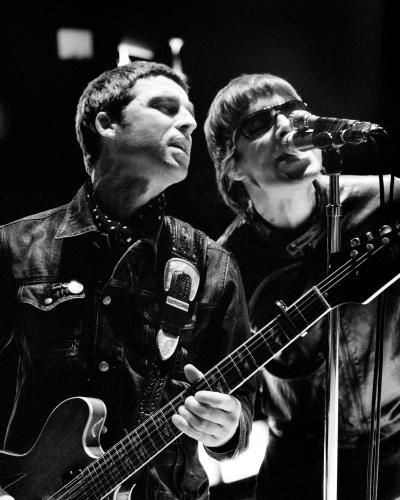 "Noel and Liam Gallagher on the set of ""The Hindu Times"" video filmed at Abbey Road Studios in London"