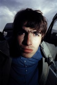 Liam Gallagher of Oasis photographed backstage at Glastonbury.