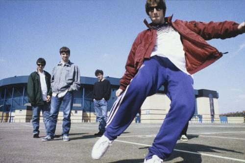 Oasis photographed at Maine Road
