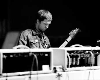 """Noel Gallagher with his Gibson Guitar on the set of """"The Hindu Times"""" video shot at Abbey Road Studio in London"""