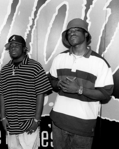 American hip hop duo Outkast backstage.