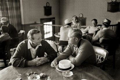 Golfers Arnold Palmer and Jack Nicklaus photographed in Liogonier, Philadelphia.