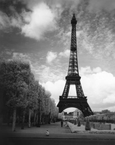 A scenic view of the Eiffel Tower.