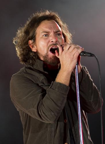 Eddie Vedder of Pearl Jam performs on the main stage as the band headline day 3 of The Isle of Wight Festival at Seaclose Park on June 23