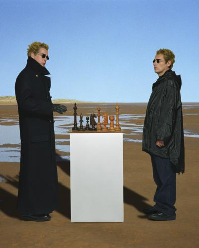 The Pet Shop Boys playing chess. Photographed in 2001 by Chris Floyd.
