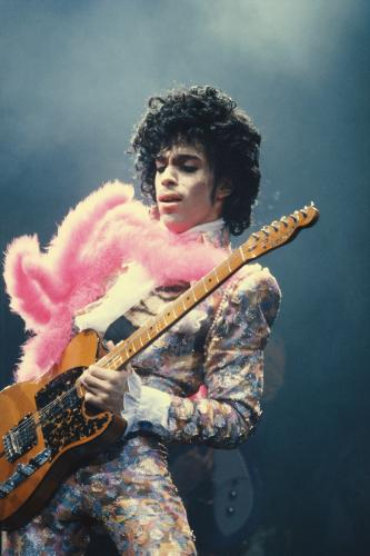 Prince on stage in Los Angeles 1985.