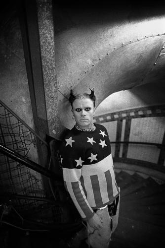 Keith Flint of The Prodigy photographed deep under the Aldwych Tube Station on the London Underground