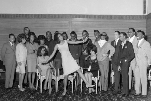 The Supremes, The Temptations, Stevie Wonder, Martha & The Vandellas, The Miracles and members of The Earl Van Dyke Six at the Cumberland Hotel, London.